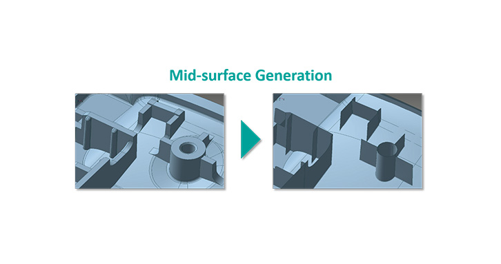 Mid-surface Generation provides editing tool to modify generated mid-surfaces to users' intent.