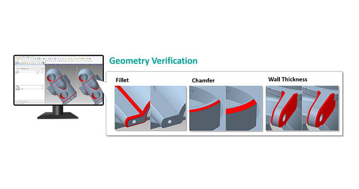 Geometry Verification detects differences on geometry and assembly structure between two CAD files.