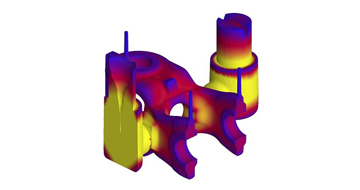 Simulation of the temperature distribution during solidification of a steel casting