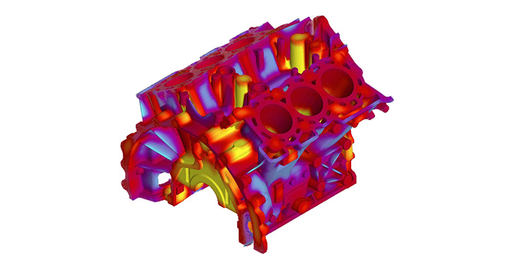 Simulation of an engine block in order to predict hot spots and future quality issues that may occur