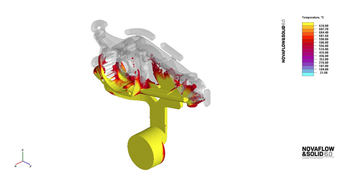 Filling simulation of a high pressure die casting with complex geometry