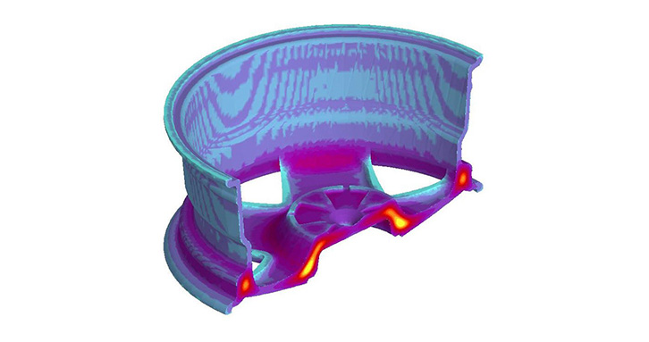 Temperature distribution during solidification of a casting casted through low pressure die casting