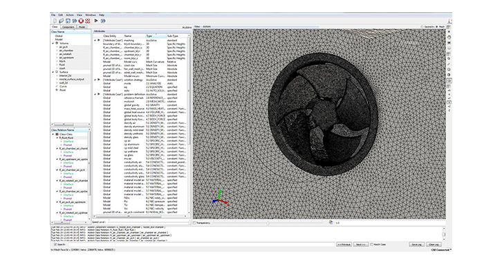 Engine cooling fan mesh model in AcuNexus™ – close up of fan in shroud
