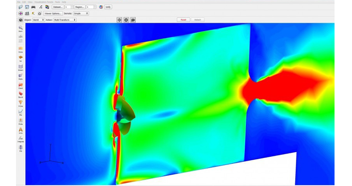 Resulting engine cooling fan simulation model from AcuSolve as visualized in FieldView