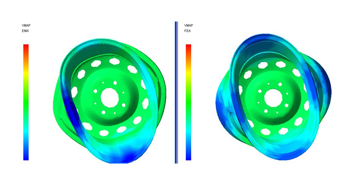 Visual Correlation of  Modal Test and FEA Modal Analysis Results of a TATA Indigo wheel rim in VMAP