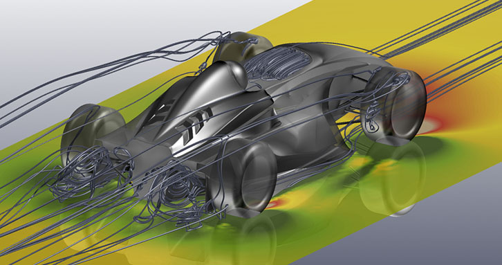 Streamlines showing vortex structures in the wake of an open wheel race car
