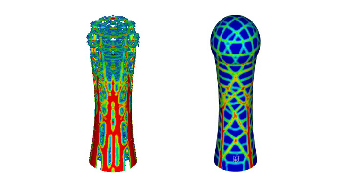 Structural optimization to identify internal ribs (left) and façade load bearing structure (right)