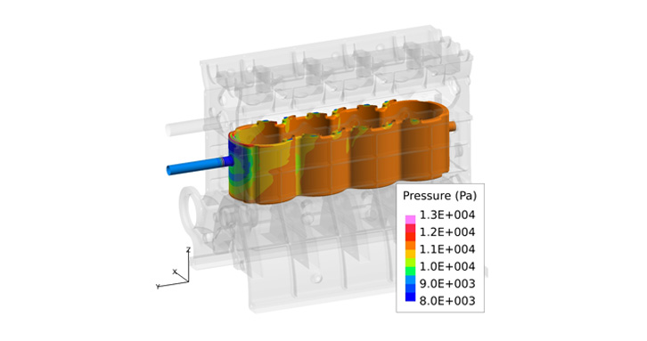 Water jacket surface pressure simulation (AcuSolve)