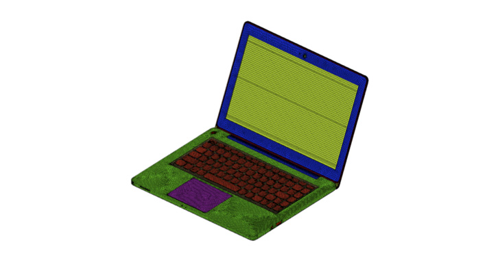HyperMesh model of a laptop (Courtesy of Lenovo)