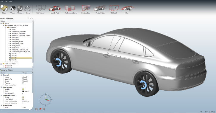 Streamlined user interface dedicated to external aerodynamics
