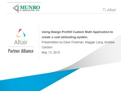 Using Design Profit® Custom Math Application to create a cost estimating system.