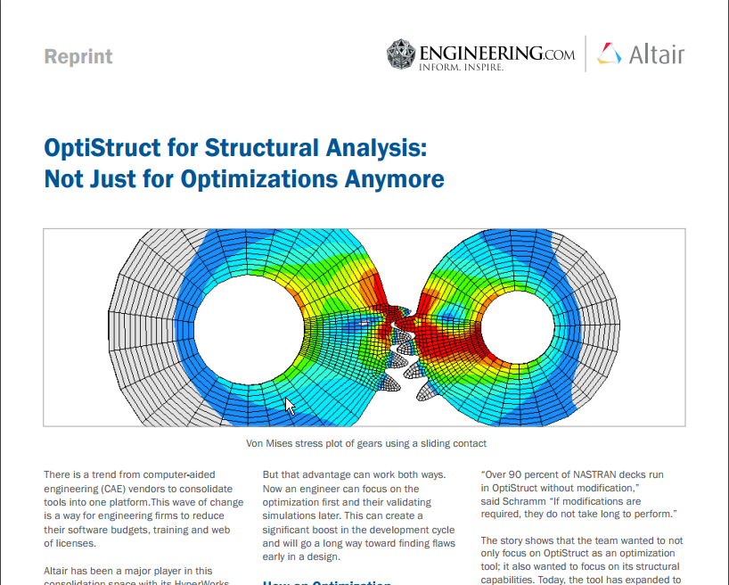 OptiStruct for Structural Analysis: Not Just for Optimizations Anymore