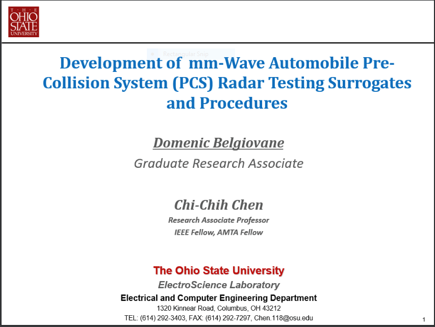 Development of mm-Wave Automobile Pre-Collision System (PCS) Radar Testing Surrogates and Procedures