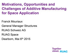 Motivations, Opportunities and Challenges of Additive Manufacturing for Space Application