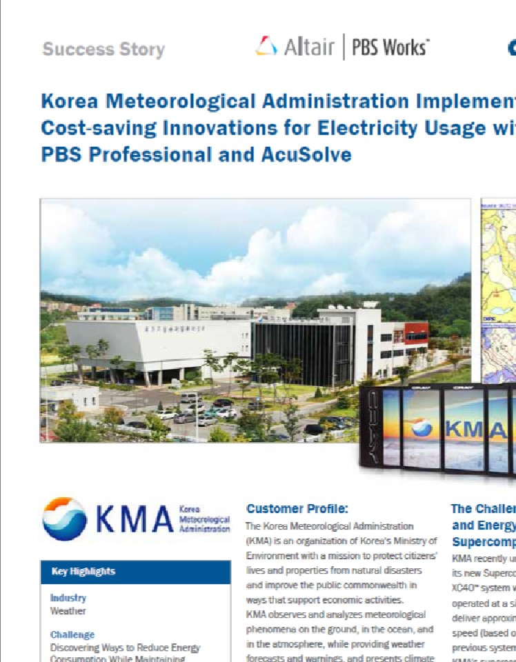 KMA Implements Cost-saving Innovations for Electricity Usage with PBS Pro & AcuSolve