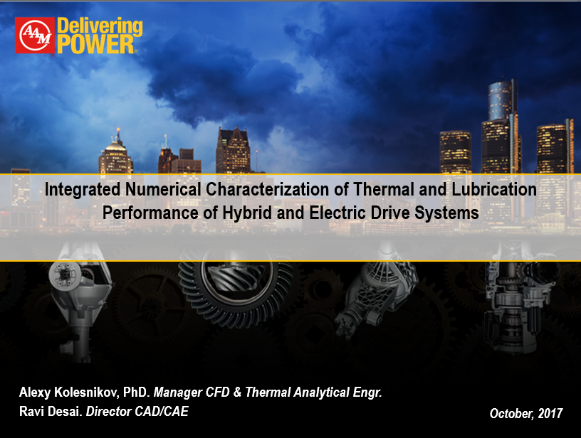 Integral Numerical Characterization of Thermal and Lubrication Performance of Hybrid and Electric Drive Systems
