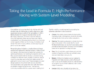 Case Study: Taking the Lead in Formula E - High-Performance Racing with System-Level Modeling