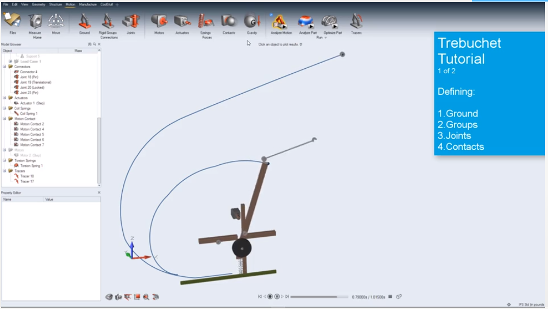 Catapult Tutorial 1: Ground, Rigid Groups, Joints and Contacts and Results