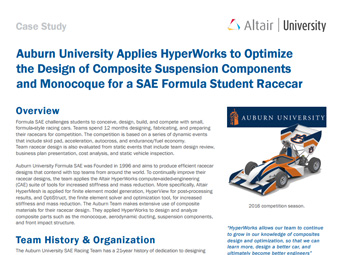 Auburn University applies HyperWorks to Optimize the Design of Composite Suspension Components and Monocoque for a SAE Formula Student Racecar