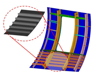 Design-Optimization of a curved layered composite panel using efficient laminate parameterization