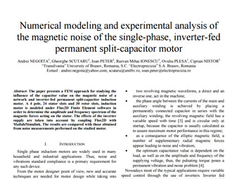 Numerical Modeling and Experimental Analysis of the Magnetic Noise of the Single-Phase Inverter-Fed Permanent Split-Capacitor Motor_Andrei NEGOITA_OPTIM