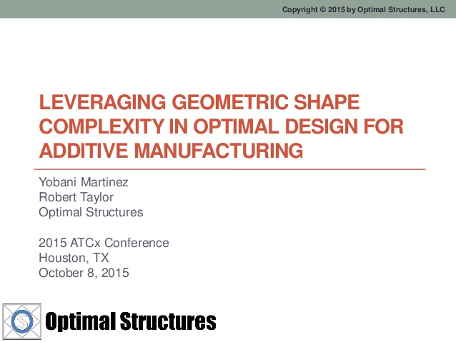 Leveraging Geometric Shape Complexity, in Optimal Design for Additive Manufacturing