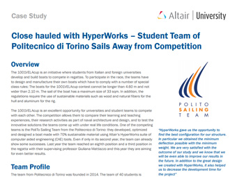 Close Hauled with Hyperworks - Student Team of Politecnico di Torino Sails Away from Competition