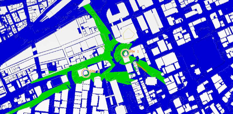 ITU-R P.1411モデルにより、調整対象区域の図の作成例
