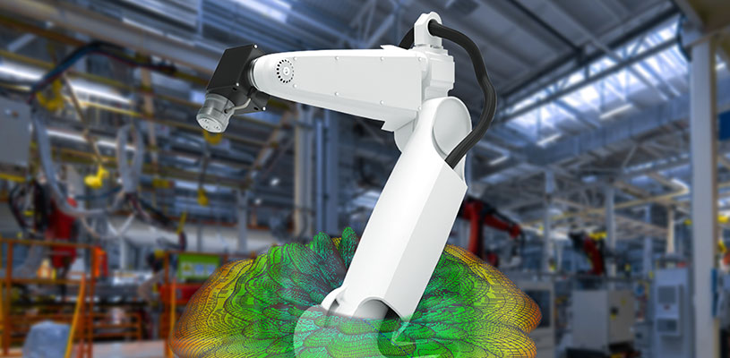 具有工业机器人和工厂地板网络覆盖的工业物联网设备上的5G天线仿真