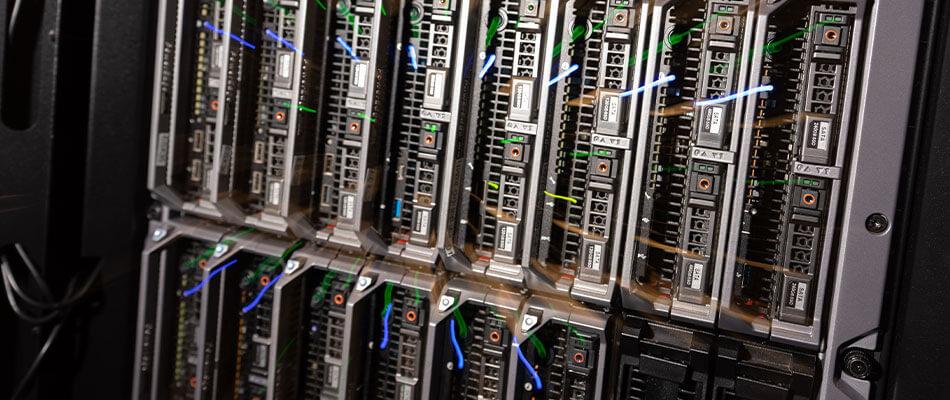 服务器机房集群的特写